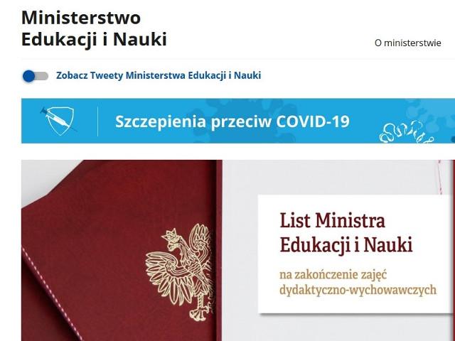 List Ministra Edukacji i Nauki na zakończenie roku szkolnego 2020/2021